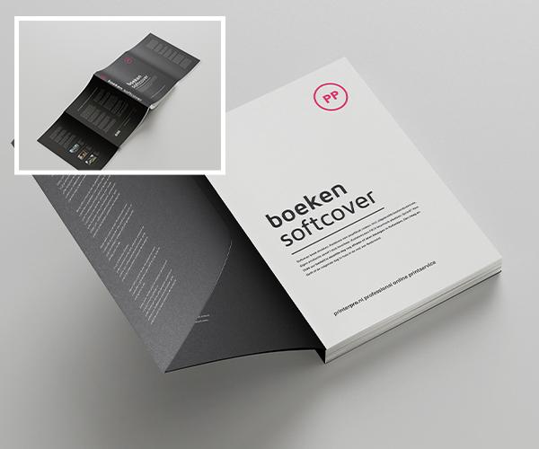 softcover omslag met uitslaander